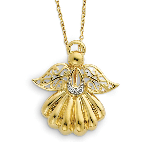 Sterling Silver & Gold-plated Angel of Remembrance 18in Necklace