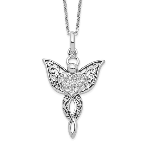 Sterling Silver Antiqued Angel of Blessing 18in Necklace
