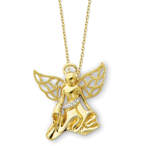 Sterling Silver Gold-plated Angel of Gratitude 18in Necklace