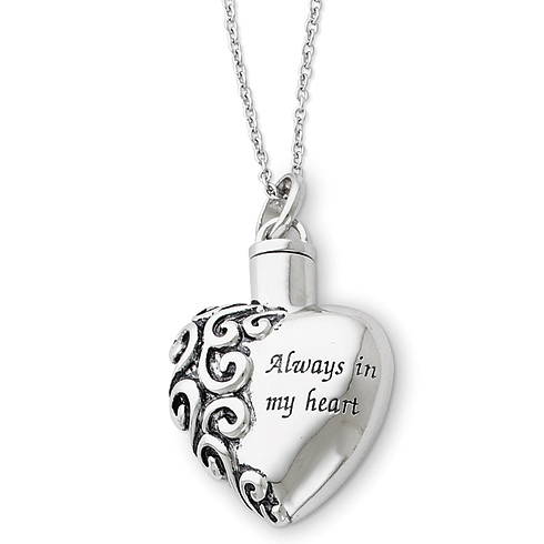 Sterling Silver Always In My Heart Ash Holder 18in Necklace