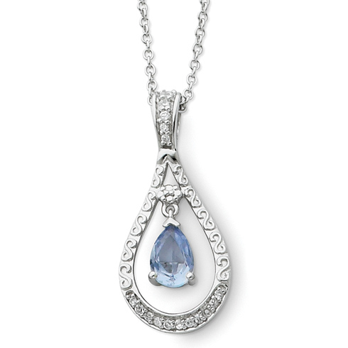 Sterling Silver Mar. CZ Stone Never Forget Tear 18in Necklace