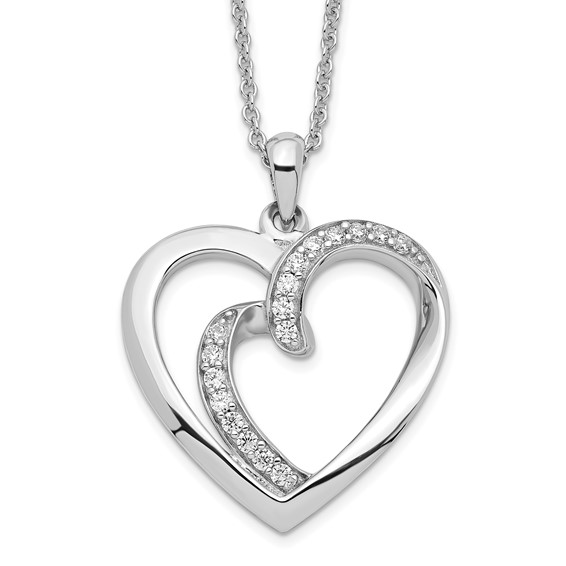Sterling Silver & CZ Soulmate 18in Heart Necklace