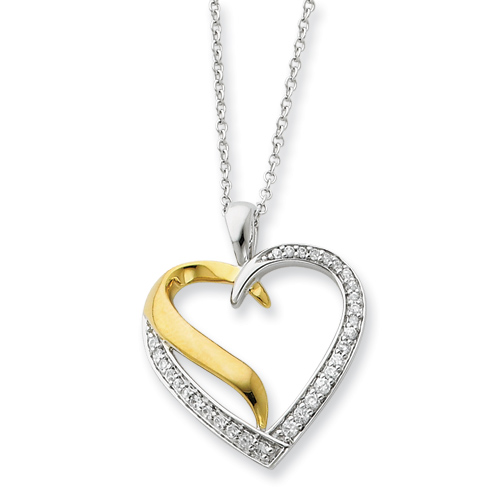 Sterling Silver & Gold-plated I Cherish You 18in Heart Necklace