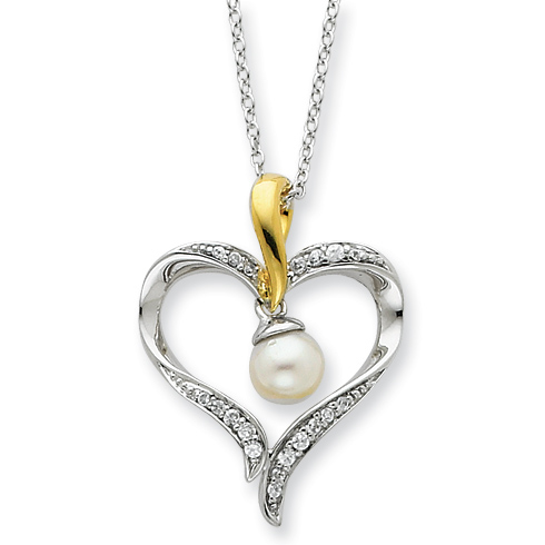 Gold-plated Sterling Silver Cultured Pearl Heart & Soul 18in Necklace