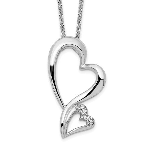 Sterling Silver & CZ Protected Heart 18in Necklace