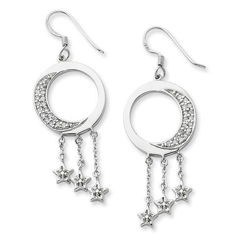 Sterling Silver & CZ I Promise You the Moon and Stars Dangle Earrings