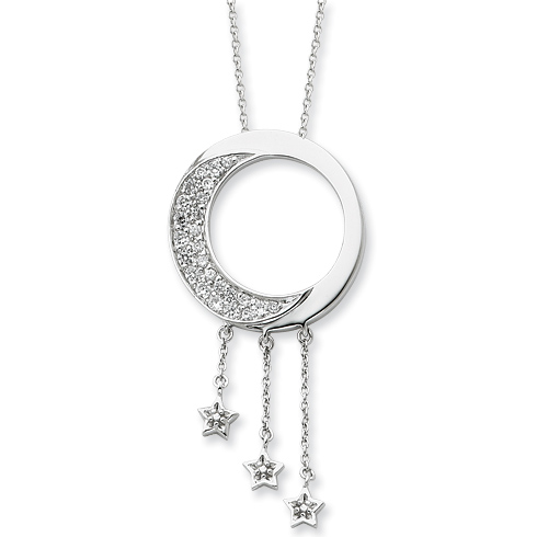 Sterling Silver & CZ I Promise You the Moon and Stars 18in Necklace