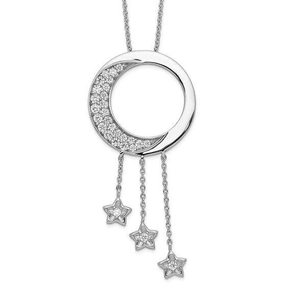 I Promise You the Moon and Stars Necklace CZ and Sterling Silver