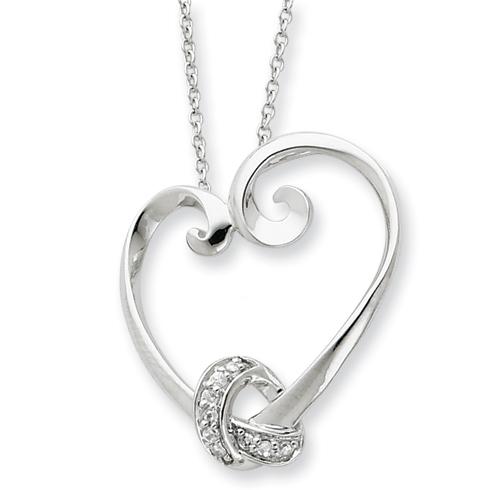 Sterling Silver & CZ Loveknots 18in Heart Necklace
