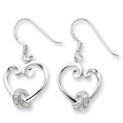 Sterling Silver & CZ Loveknots Dangle Earrings
