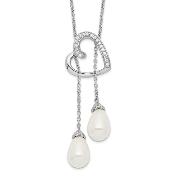Sterling Silver Cultured Pearl & CZ Two Become One 18in Heart Necklace