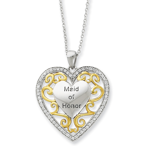 Sterling Silver & Gold-plated CZ Maid of Honor 18in Heart Necklace