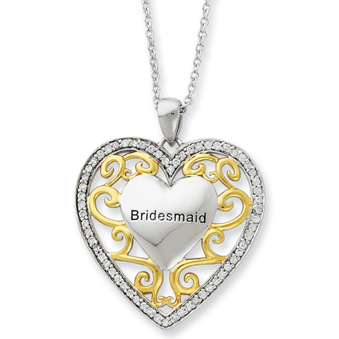 Sterling Silver & Gold-plated Bridesmaid 18in Necklace