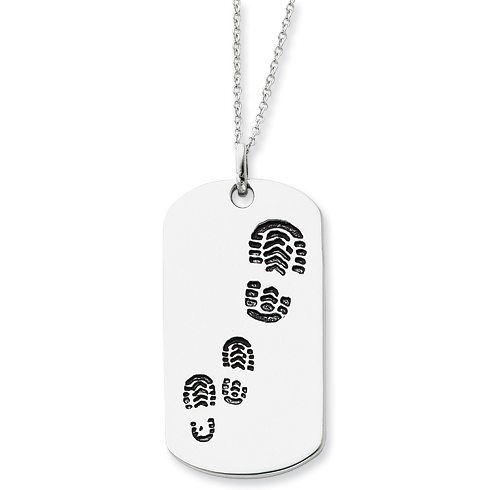 Sterling Silver Antiqued Footsteps 18in Dog Tag Necklace