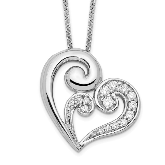 Sterling Silver A Mothers Journey 18in Heart Necklace