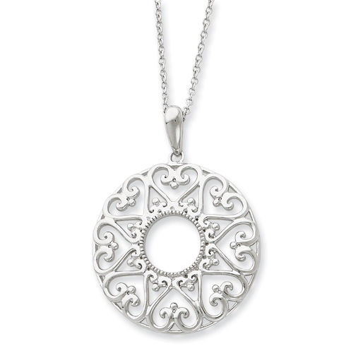 Sterling Silver Polished Family Heart Strings 18in Necklace