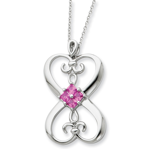 Sterling Silver Synthetic Pink Stone Loyalty 18in Necklace