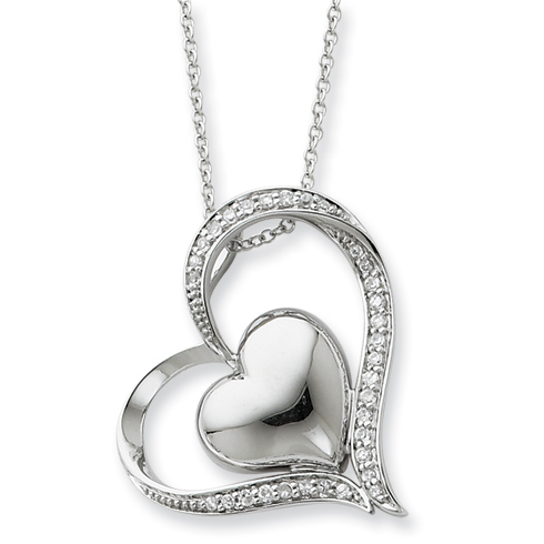 Sterling Silver & CZ In My Heart 18in Necklace