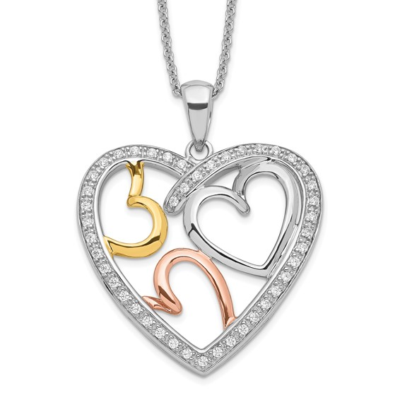 Gold-plated Sterling Silver The Bond of Love 18in Heart Necklace