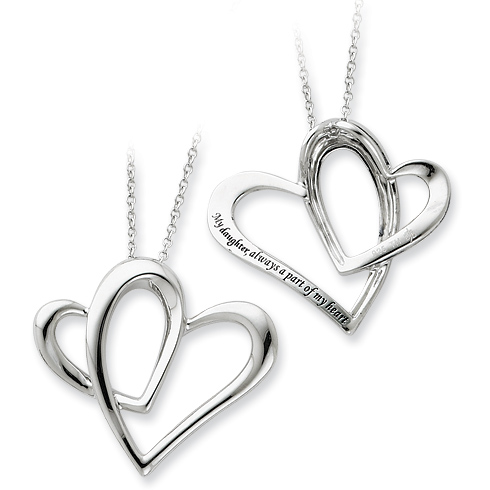 Daughter A Part of My Heart Necklace Sterling Silver