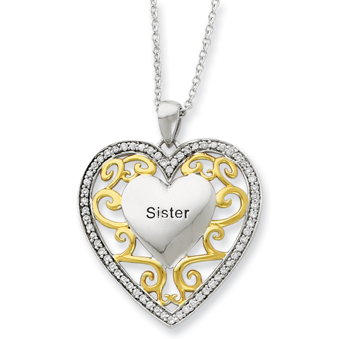 Sterling Silver & Gold-plated Sister 18in Heart Necklace