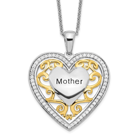 Sterling Silver & Gold-plated Mother 18in Heart Necklace