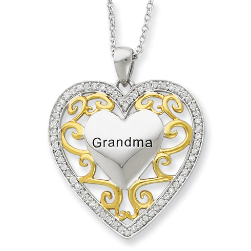 Gold-plated Sterling Silver Grandma Heart 18in Necklace