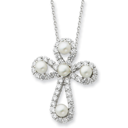 Sterling Silver Cultured Pearl & CZ Pearls of Purity 18in Cross Necklace