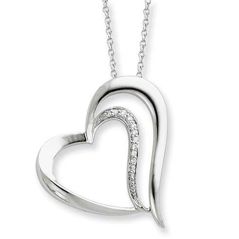 Sterling Silver & CZ Polished A Restored Heart 18in Necklace