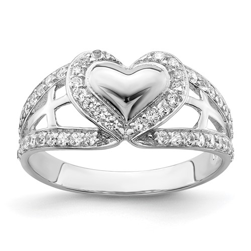 Sterling Silver and CZ Polished Pure Heart Ring Size 6