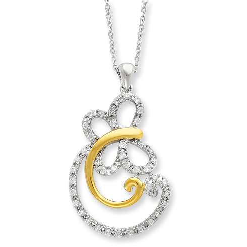 Sterling Silver & Gold-plated CZ Carefree 18in Necklace