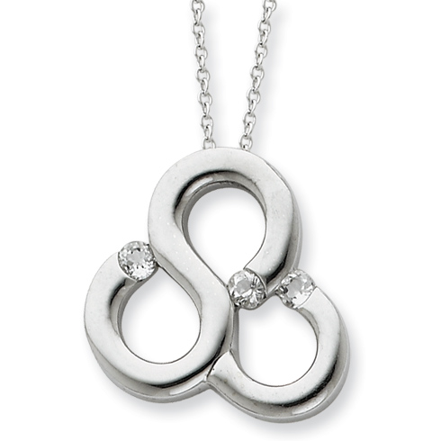 Sterling Silver & CZ Polished Threefold Blessing 18in Necklace