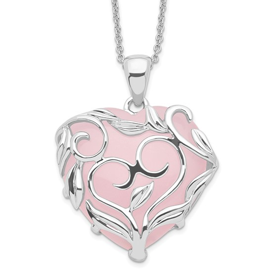 Sterling Silver & Rose Quartz Generous Heart 18in Necklace