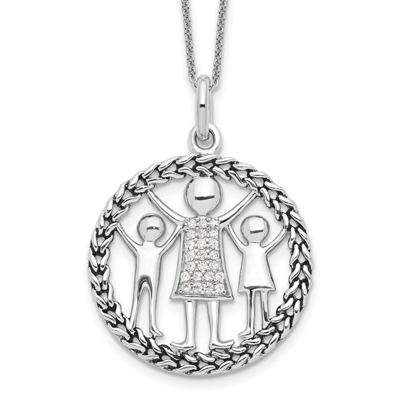 Sterling Silver Antiqued Knitted Together By Love 18in Necklace