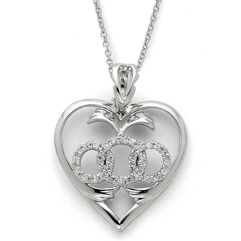 Sterling Silver CZ Labor of Love 18in Necklace