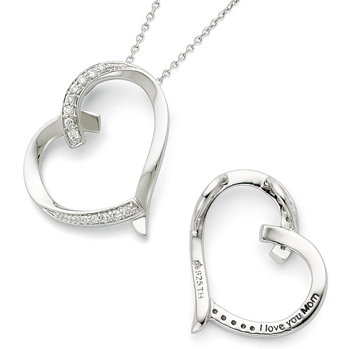 Sterling Silver Antiqued CZ I Love You Mom 18in Necklace