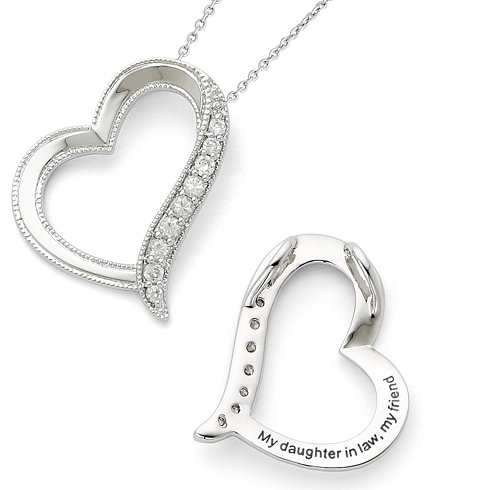 Sterling Silver CZ Daughter-In-Law Heart 18in Necklace