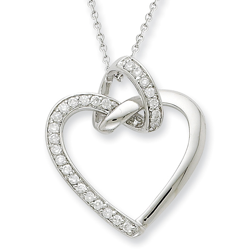 Sterling Silver CZ Friendship Promises Heart 18in Necklace
