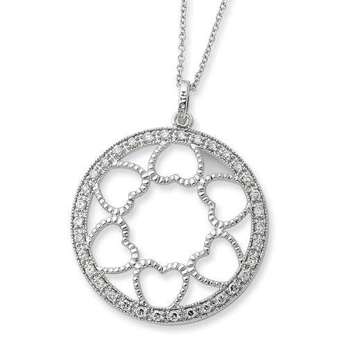 Sterling Silver CZ Fullness Of Blessings 18in Necklace