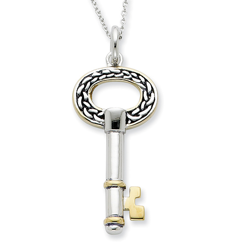 Sterling Silver & Gold-plated Antiqued Key to Success 18in Necklace