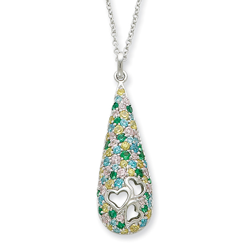 Cheerdrops Necklace Blue Green Yellow White CZ Sterling Silver