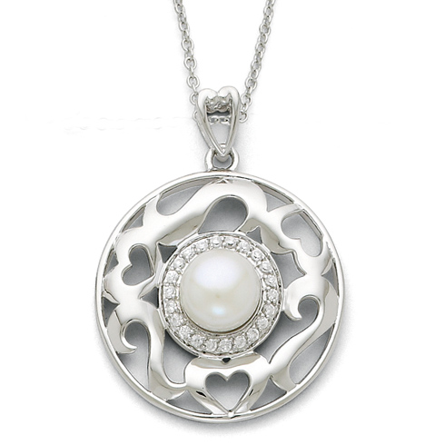 Sterling Silver Cultured Pearl & CZ Eye Of The Beholder 18in Necklace