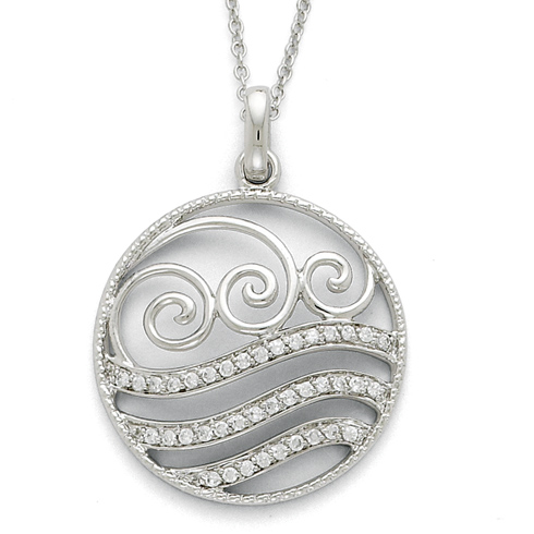 Sterling Silver CZ Serenity 18in Necklace