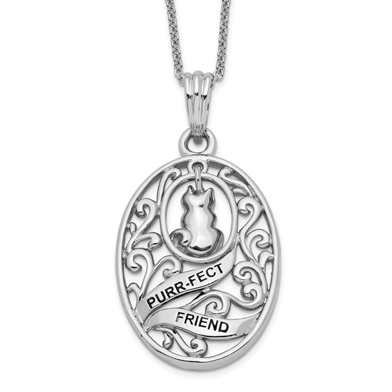 Sterling Silver Antiqued Animal Friends-Cat 18in Necklace