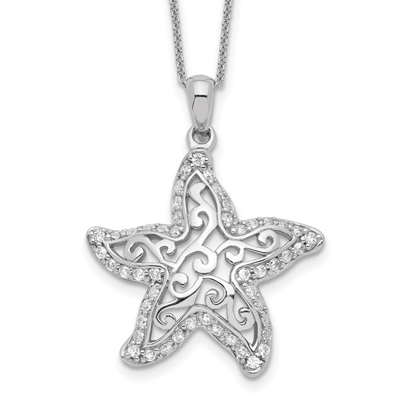 Sterling Silver CZ Starfish Make A Difference 18in Necklace