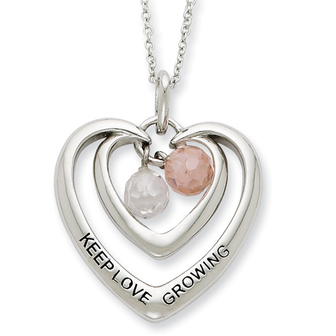 Sterling Silver CZ Keep Love Growing Heart Necklace