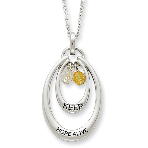 Sterling Silver Antiqued CZ Keep Hope Alive 18in Necklace