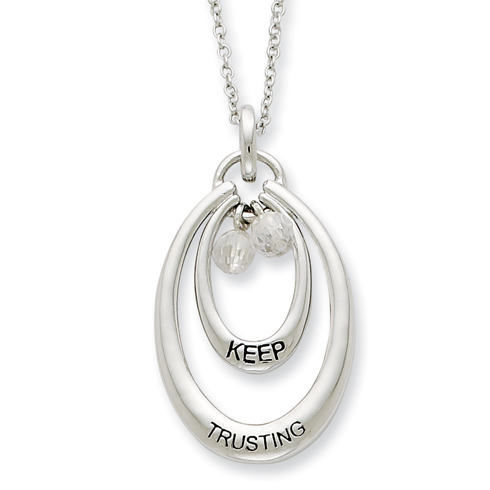 Sterling Silver Antiqued CZ Keep Trusting 18in Necklace