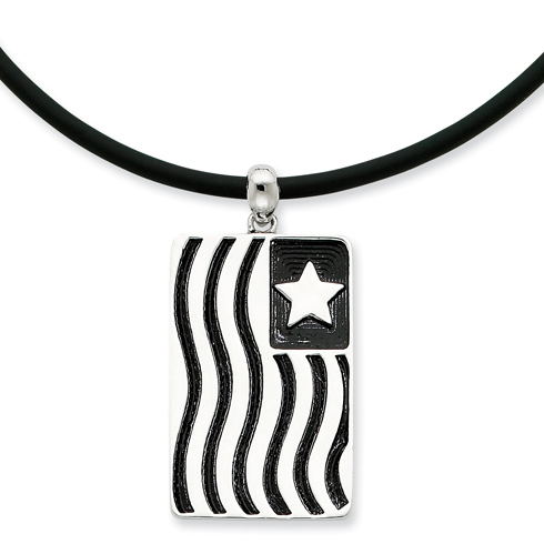 Sterling Silver Antiqued Waves Of Pride 22in Rubber Cord Necklace