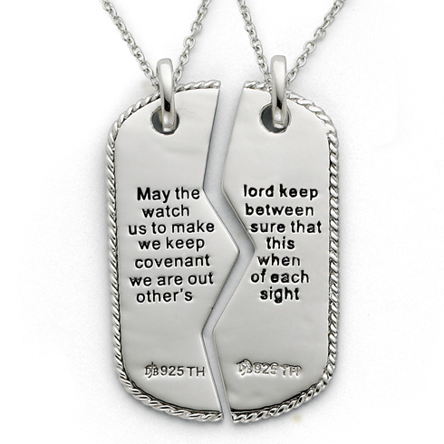 Sterling Silver Antiqued Military Dog Tag For Two 18in Necklaces